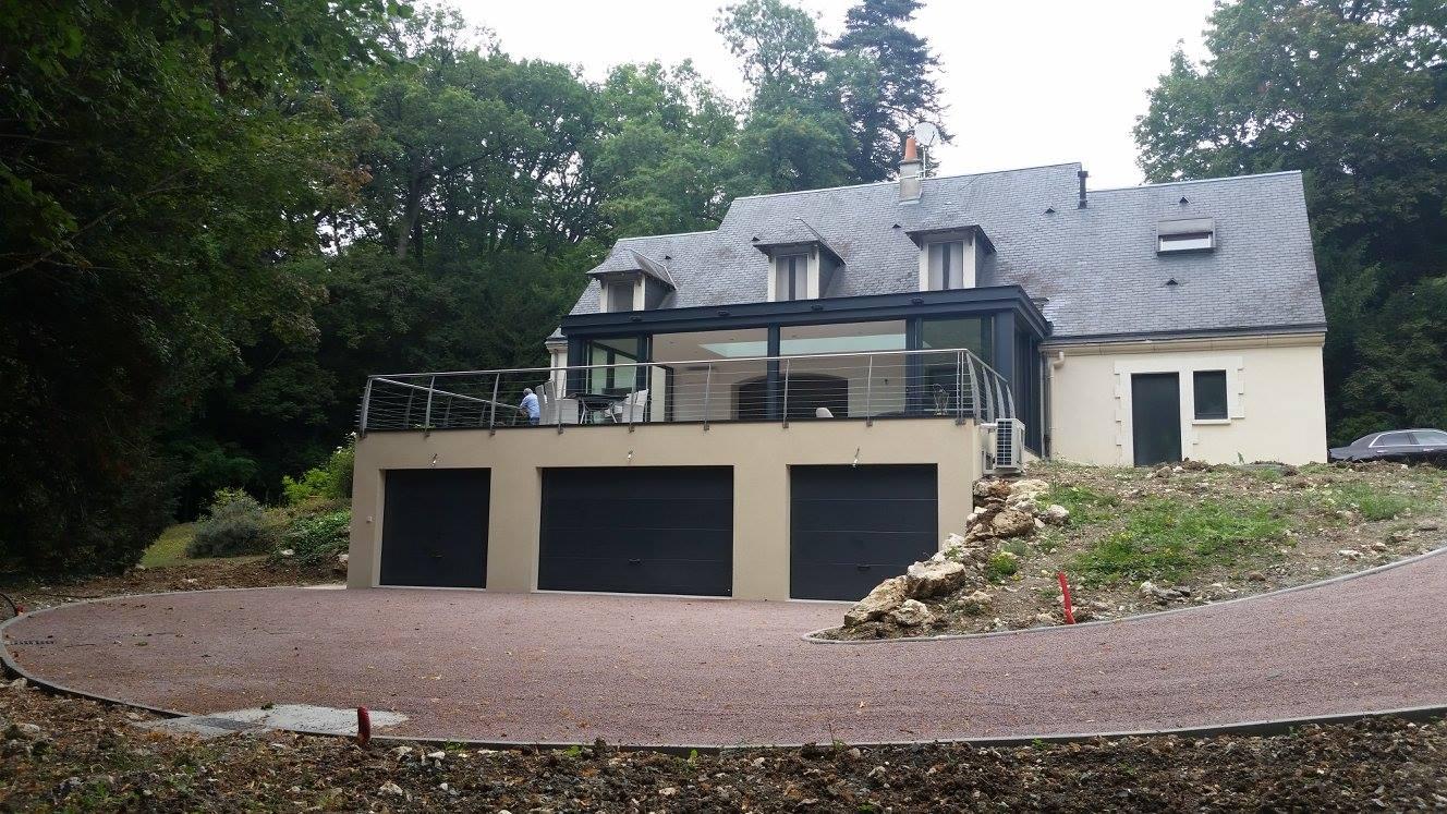 garage terrasse maçonnerie